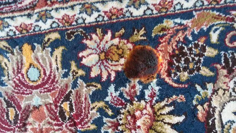 نحوه ای سوختگی فرش با رغال